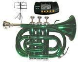 Merano B Flat Green Pocket Trumpet with Case+Metro Tuner+Black Music Stand by Merano