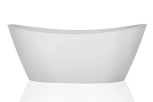 Empava 67 Made in USA Luxury Freestanding Bathtub Acrylic Soaking SPA Tub by Empava – Modern Stand Alone Bathtubs with Custom Contemporary Design, White EMPV-FT1518