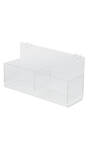 Case of 4 New Acrylic Clear Double Display Bin for Pegboard 14â€L x 4 ½â€W x 4 ½â€D