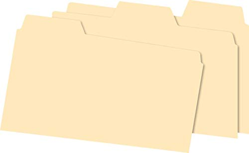 (Office Depot Index Card Guides with Blank Tabs, 5in. x 8in, Manila, Pack of 100, OD513BUF)