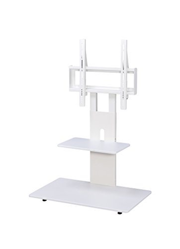 Proman Products ST17051 Modern TV Stand with Adjustable Mount and Two Shelves, Pure White