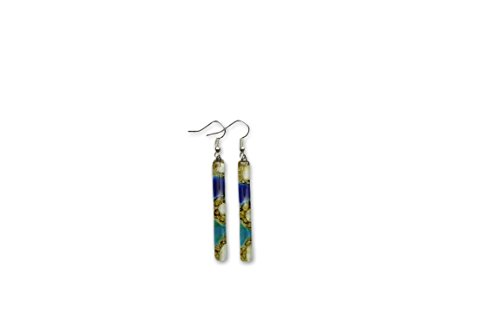 Hand Crafted Artisan Fused Art Glass Earrings - Dangling Earrings Glass with fish hoooks. ()