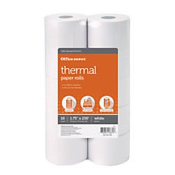 Office Depot Adding Machine Thermal Paper Rolls, 1 3/4in. x 230ft., White, Pack Of 10 Rolls, 554085