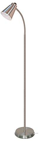 Satco 57/054 Gooseneck Floor Lamp with 13-watt GU24 2700K Mini Spiral, (Group Nickel Floor Lamp)