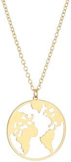 Inveroo New World Map Necklace/&Pendant for Women and Men Personalized Gold Silver Collier Femme Mental Colar Collar Small Gift