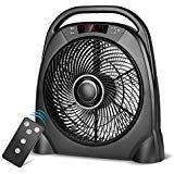 Air Choice Remote Floor 12 Inch Quiet Table Fan with Adjustable Speeds & Automatic Shutoff Timer, Sleep & Powerful Modes, Black 6 Speed Open Top Swing