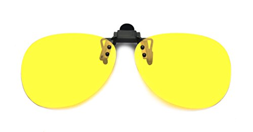 Kelens Yellow Night Vision Polarized Clip-on Flip-up Aviator Driving - Lenses Prescription Only Buy