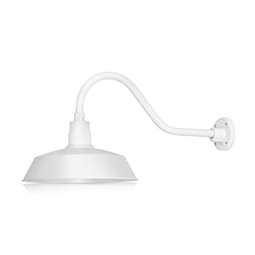 14in. White Outdoor Gooseneck Barn Light Fixture with 22in. Long Extension Arm - Wall Sconce Farmhouse, Vintage, Antique Style - UL Listed - 9W 900lm A19 LED Bulb (5000K Cool White)