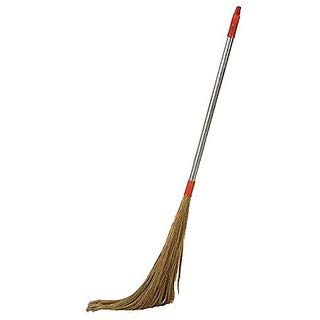 Savi Enterprises Steel Handle Soft Bristle Broom (Brown)