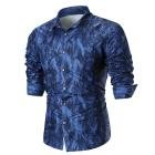 Mose Slim Shirt for Men, Personality Men's Summer Casual Slim Long Sleeve Printed Shirt Top Blouse (Blue, 3XL)