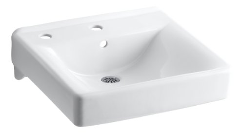 (KOHLER K-2084-L-0 Soho Wall-Mount Bathroom Sink with Single-Hole Faucet Drilling and Left-Hand Soap/Lotion Dispenser Drilling, White)
