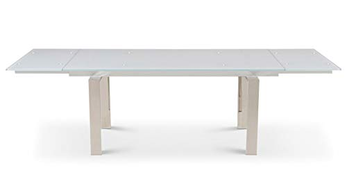 (Zuri Furniture Modern Montez 106 Inch Expandable Dining Table with White Glass and Polished Stainless Steel)