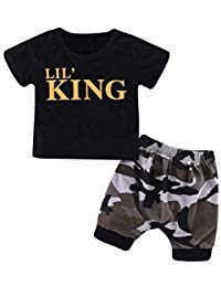 Baorong Summer 2 Piece Sets Baby Boy Short Sleeve T-Shirt Camouflage Pants Casual Clothes Outfits -