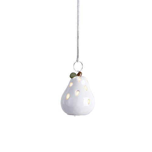Anvehu Ornaments White Ceramic Pears Set of 4 LED Lights Fall Autumn Halloween & Thanksgiving & Christmas Tree Decorations Includes Removable Hanging Spiral Chain