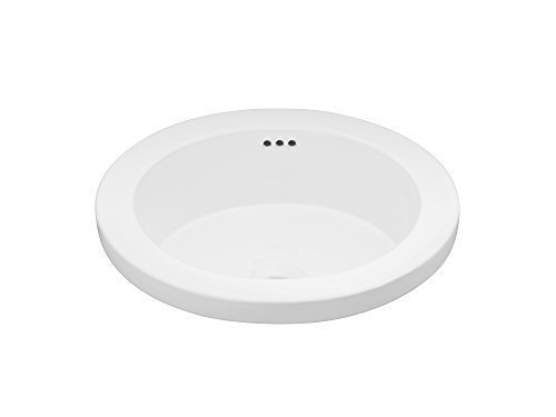 RONBOW Bandeau 16 Inch Round Ceramic Drop-in Bathroom Sink in White (Bamboo Bandeau)