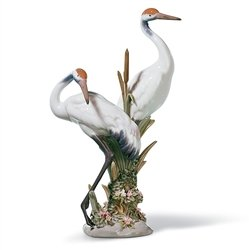 Lladro Cranes - Lladro Porcelain Figurine Courting Cranes