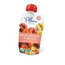 6 Pouches of Plum Organics Stage 2 Peach, Banana & Apricot, 4oz ea