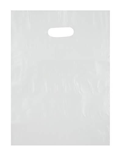 White Inch 12 Handle (9x12 White Die Cut Handle Plastic Shopping Bags 100/cs)