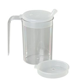 (Alimed 1 Handle Clear Mug with 2 Clear Lids)