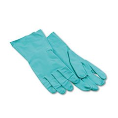 Nitrile Flock-Lined Gloves, Large, Green