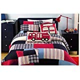 Quilt Queen Fire Truck - 3 Piece Fireman Color Quilt Set, This Fireman Bedding Collection Features Plaid Accents - Boys Blue, Red & Multi Color Rainbow Fire Truck Themed Bedding! Queen Size - Firefighter Color Themed Bedding
