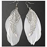 (Yanvan Womens Girls Bohemian Earrings, Angel Metal Wing Handmade Vintage Feather Long Drop Earrings Wedding Engagement Jewelry for Party)