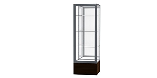 Waddell 4024MB-SN-WV Keepsake 24 x 72 x 24 in. Walnut Aluminum Frame Vinyl Base Floor Display Case44; Mirror Back - - Waddell Vinyl Frame