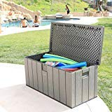 Heavy Duty, Reliable Easy Clean Large Space Versatile Lifetime Rough Cut 150-gallon Deck Box Lockable Lid with Spring Hinge Handsome Grey - Perfect For Outdoor Storage, Fun Tailgating, Picnics