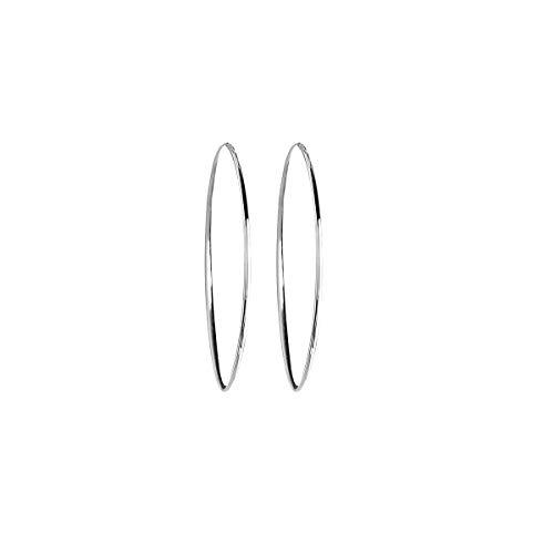 VANA JEWELRY 3.5CM Hoop Earrings Women's Sterling Silver Hypoallergenic Earrings for Sensitive Ears White Gold Dangle Drop Earrings Teen Girls Fashion Gift ()
