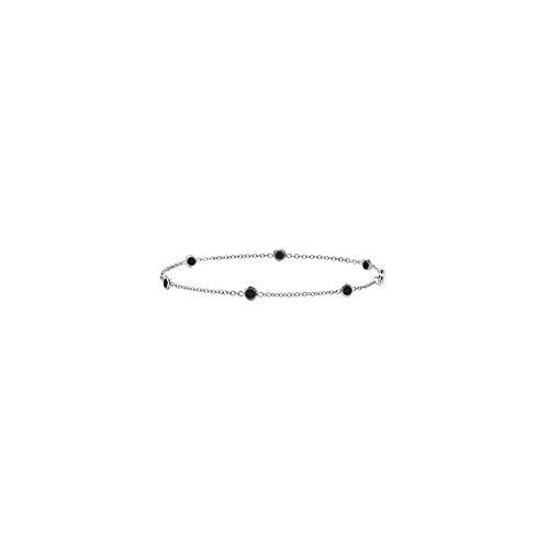 (Black Onyx Bracelet in 7 Inch White Gold 14K TGW 0.60 CT)
