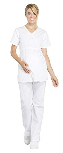 (Cherokee Workwear Professionals Maternity Mock Wrap Top WW685 & Maternity Straight Leg Pant WW220 Scrub Set (White - Medium))