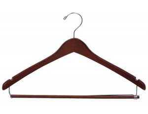 Wooden Curved Suit Hanger w/Locking Bar, Walnut Finish with Chrome Hardware, Box of 50 by The Great American Hanger Company by The Great American Hanger Company
