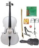 GRACE 3/4 Size White Cello with Bag and Bow+Rosin+Extra Set of Strings+Tuner+Cello Stand+Music Stand