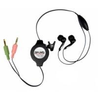 Cables Unlimited Retractable Stereo VoIP Cable - Black (Speech Recognition Cable Stereo Headset)