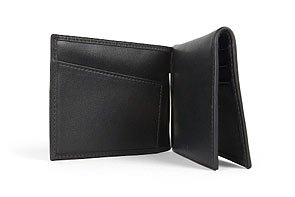 [Bosca Nappa Vitello Collection - Trifold Wallet w/ Money Clip  Black Leather] (Bosca Bag)