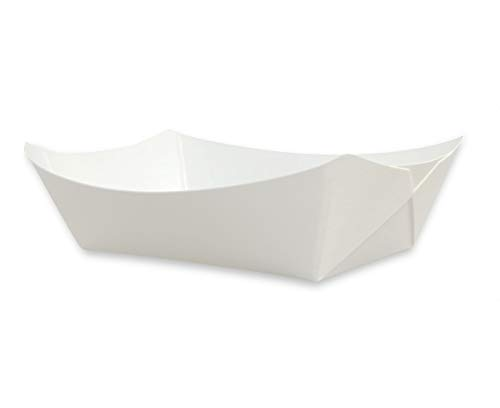 White Disposable Paper Food Serving Tray - Medium 25 pcs - Perfect for BBQ's, Picnics, Carnivals, Birthdays, Parties & Festivals #100 -