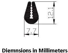 M M SEALS D045-5F Black U Channel Edge Trim Seal EPDM 27//32 high x 1//8 Wide 5 Feet