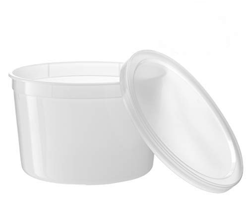Basix Freezable Clear Food Storage Deli Containers with Lids 64-Ounce, Freezer Container Round, Perfect for Food Prep, Soup Storage or Ice Cream Storage, Pack of 10