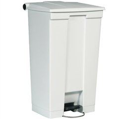 Rubbermaid Commercial Step-On Waste Container, Rectangular, Plastic, 23 gal, White