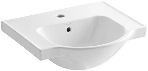 KOHLER K-5247-1-0 Veer Single-Hole Sink Basin, 21-Inch, (Basin White Single Hole)