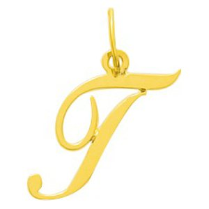 So Chic Bijoux © Pendentif Lettre T Initiale Alphabet Style Cursive Scripturale Or Jaune 750/000 (18 carats)