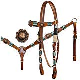 Showman ® Rawhide Braided Headstall and Breastcollar Set with Antique Style Conchos
