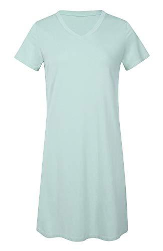 LazyCozy Women's Bamboo Cotton Nightgown Short Sleeve Nightshirt, Aqua, Medium