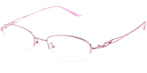 SOOLALA Womens Stylish Reader Eyeglass Semi-rimless Exquisite Alloy Frame Reading Glasses, Pink, 2.25