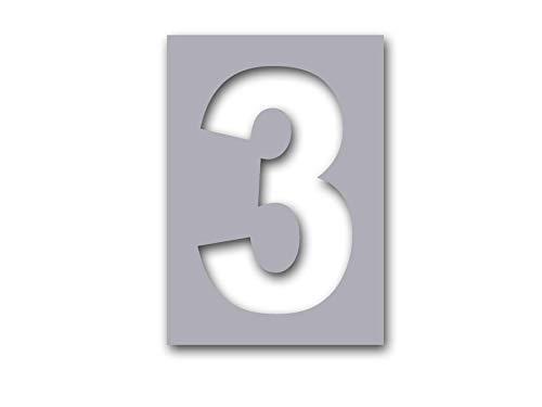 # 3, Individual Curb Painting Stencil, 4in Number, Flexible Plastic