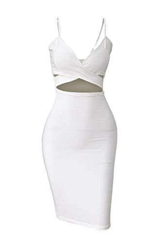 Doramode Sexy Strap Backless Cut-Out Bandage Bodycon Clubwear Midi Dress For Women , White , Medium