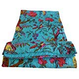 Texas A&m Quilt - colors of rajasthan Indian Kantha Blanket, Bed Cover, King Kantha Bedspread, Bohemian Bedding Kantha Hippie Quilt (Blue)