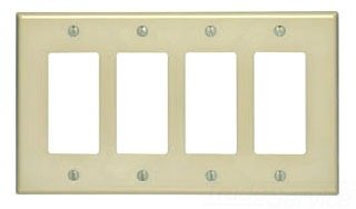 Leviton 80612-I 4-Gang Decora/GFCI Device Wallplate, Midway Size, Thermoset, Device Mount, Ivory