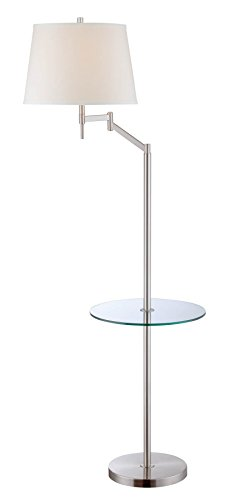 Lite Source Floor Lamps Ls-82139 Eveleen Swing Arm Floor Lamp W/Table, Polished Steel
