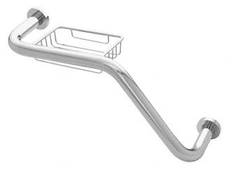 "C.R. LAURENCE GB535CH CRL Polished Chrome 20"" 135 Degree Grab Bar With Wire Basket"